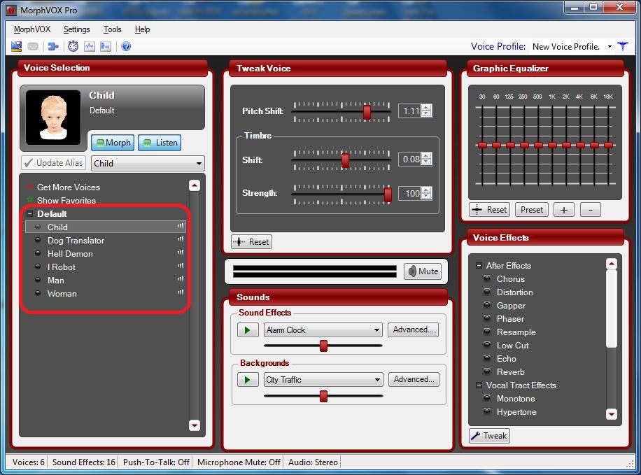 Стандартный набор голосов в Morphvox Pro